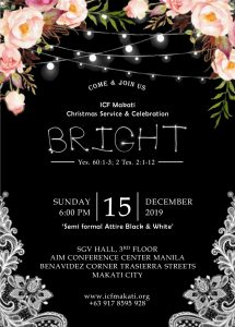 "ICF Christmas Celebration ""Bright"" @ 3rd floor, SGV Conference Center, AIM"